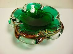 "MURANO SEGUSO SOMMERSO ART DECO ASHTRAY 5 LEAF CLOVER GREEN/GOLD DECOR 7""WIDE #Murano"