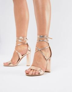 c258264526c True Decadence Rose Gold Ankle Tie Block Heeled Sandals
