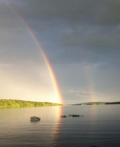 Double rainbow!! We found the ending ! Scituate RI Reservoir !