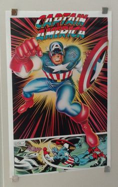 Rare vintage original 1977 Marvel Comics 35 x 23 Captain America Thought Factory comic book superhero poster 1: 1970's Marvelmania/Avengers. 1000's more rare vintage original Marvel & DC Comics posters and Official colorist's color guide art pages (used in the production of the actual Marvel & DC comic books), at SUPERVATOR.COM and at SUPERVATORCOMICPOSTERSANDART.COM