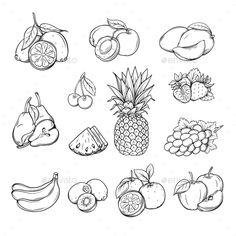Dibujos e Imágenes de Frutas para Colorear e imprimir