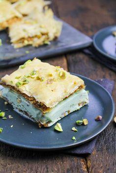 Baklava Ice Cream Sandwiches with Pistachio Gelato | {Katie at the Kitchen Door}