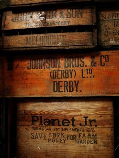 Old wood crates, including one for a Planet Jr. Cageots Vintage, Vintage Crates, Old Crates, Wooden Crates, Vintage Industrial, Wooden Trunks, Old Wooden Boxes, Old Boxes, Derby
