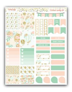 Hot Air Balloon weekly stickers kit by PrettyCraftyStickers