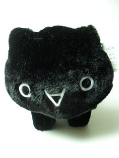 black kaomoji emoticon nyanko cat plush happy dance with red ribbon 30 cm