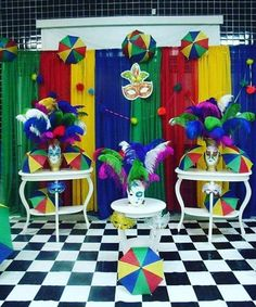 Masquerade Party Themes, Carnival Themed Party, Rio Carnival, Carnival Birthday, Ciara Birthday, Rio Birthday Parties, Birthday Celebration, Carnival Decorations, Diy Party Decorations