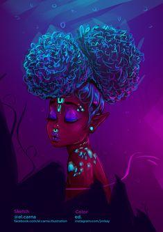 collaborative illustration by el carna and emmanuel dankyi ed Black Love Art, Black Girl Art, Black Girls, Black Women, African American Art, African Art, Les Aliens, Arte Black, Black Girl Cartoon