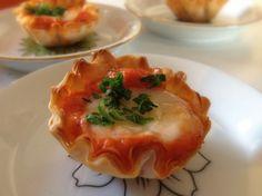 Mini tartas de romesco y queso de cabra #comidaparafiestas #españa