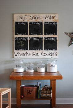 Would love a menu board like this (recycled window?) with glass. Chalk kills me. LOL Love writing notes on my glass front cabinet doors with a sharpie. Easily cleaned, but won't rub off if bumped.