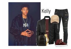 """""""Game night vs the Cavs"""" by theoubrefamily ❤ liked on Polyvore featuring Balmain, AllSaints, Lord & Taylor, LE3NO, New Era, Versace, Gucci, men's fashion and menswear"""