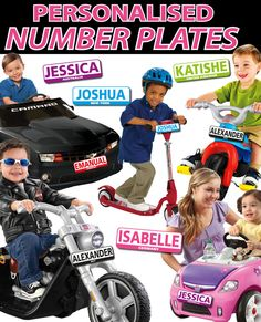 Personalised Kids Licence Number Plates Bike, Toy Car Sign Personalised Number Plates, Car Signs, Wall Stickers, Toy, Bike, Wall Clings, Bicycle, Wall Decals, Toys