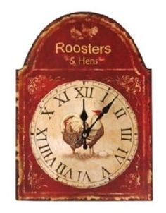 Roosters and Hens Distressed Look Wall Clock