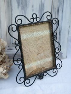 """French antique table photo frame in black metal, wrought iron style. It will be suitable for 18x13 cm 