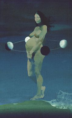 She is learning to follow the cycles of the Moon, be aware of the ebb and flow of the cosmos and the seasons and wants her business and her life to allow for natural rhythms.    (Anima Mundi, 2004, by Ferenc Pintér (1931-2008))