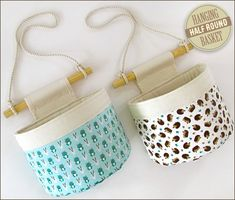 Tutorial and pattern: Half round hanging storage basket Half Round Hanging Basket Hanging Basket Storage, Storage Baskets, Pantry Baskets, Fabric Boxes, Fabric Storage, Fabric Basket, Fabric Crafts, Sewing Crafts, Sewing Projects