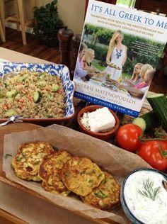 Debbie Matenopulous' Kolokithopites (zucchini #fritters,), bulgar wheat salad, and Tzatziki - #homeandfamilytv