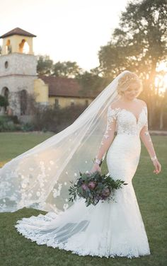 Courtesy of Essense of Australia wedding dresses; Wedding Dress with Lace Sleeves and V-Neck by Essense of Australia Lace Wedding Dress With Sleeves, Fall Wedding Dresses, Long Sleeve Wedding, Bridal Dresses, Lace Sleeves, Wedding Skirt, Lace Mermaid Wedding Dress, Sleeved Wedding Gowns, Wedding Dress Veil