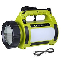 LE 1000lm Rechargeable Outdoor LED Spotlight 10W CREE T6 LED Searchlight Dimmable Camping Lantern 3600mAh Power Banks 3 Modes SOS LED Area Light Waterproof High Power Beam Flashlight Torch >>> Click on the image for additional details.
