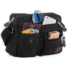 Unisex Small Vintage Canvas Shoulder Satchel Bag Messenger Fanny Pack Cross body Bags Case for iPad Travel Sling Bag Portfolio Working Bag Men's Purse Organizer Outdoor Gear for Climbing Hiking * Check out this great product. (This is an affiliate link) #ComputersAccessories