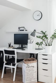 Simple monochrome workspace, Scandinavian style inspiration
