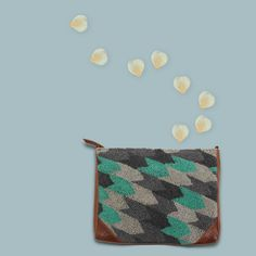 French Knot Shoulder Bag (grey and turquoise)