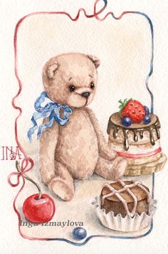 Inga Izmaylova drawing custom watercolor postcard teddy sweets happy birthday https://www.instagram.com/inga_izmaylova/