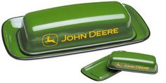 JOHN DEERE GREEN ENAMELWARE 2 PC BUTTER DISH FOR KITCHEN TABLE TOP