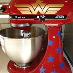 I love wonder woman, ideas for my KitchenAid Wonder Woman, Kitchen Aid Mixer, Kitchen Aid Decals, Kitchen Vinyl, Kitchen Items, Kitchen Stuff, Kitchen Appliances, Just In Case, Things I Want