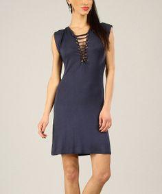 Navy String-Tie Cap-Sleeve Dress | zulily