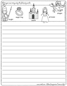 Writing Fun ~ Knights & Castles ~ Write your own story using our writing prompts. We give you five words on our printout sheet and you create a story. First Grade - Second Grade - Third Grade. Get your pens ready & let the fun begin! www.crekid.com