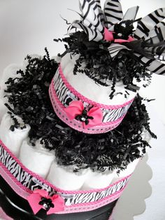 Diaper Cake  Little Diva Pink & Black Bling by DomesticDivaDesignz, $35.00