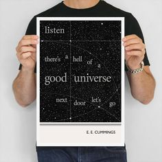 Literary Art Print, E. E. Cummings Illustration Quotes Typography Art Poster,  Large Wall Art Writer Gift, Space Art Print