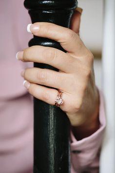 Pretty in Pink Stacking Set | Pear Morganite Engagement Ring Set - Melissa Tyson Designs Morganite Engagement, Gemstone Engagement Rings, Rose Gold Engagement Ring, Engagement Ring Settings, Vintage Engagement Rings, Gemstone Rings, Morganite Jewelry, Celebrity Engagement Rings, Engagement Inspiration