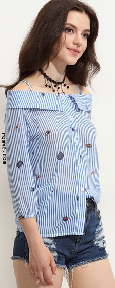 Blue Striped Cartoon Print Cold Shoulder Fold Over Blouse