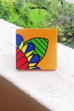 Hand Painted Ceramic Tile Orange Abstract Flower by Vivian Estalella