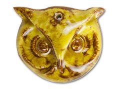 Brown Sugar Round Owl Face Porcelain Pendant