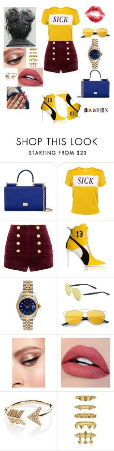 """""""In Sickness & Health"""" by iffieluv ❤ liked on Polyvore featuring Dolce&Gabbana, The Ragged Priest, Pierre Balmain, Puma, Rolex, Christian Dior, GET LOST, EF Collection and Luv Aj"""
