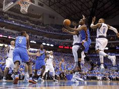 Unstoppable. Oklahoma City's Kevin Durant (35) goes to the basket between Dallas' Brendan Haywood (33) and Shawn Marion (0) during Game 3 of the first round in the NBA playoffs between the Oklahoma City Thunder and the Dallas Mavericks at American Airlines Center in Dallas, Thursday, May 3, 2012. Photo by Bryan Terry, The Oklahoman