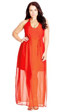 Women's Plus Size Bright Party Maxi Dress in coral | CityChicOnline.com