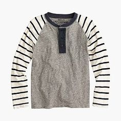 Boys' slub cotton henley with striped long sleeves