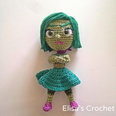 CROCHET PATTERN - DISGUST Inside Out Disney Pixar movie Amigurumi doll de Elisascrochet en Etsy https://www.etsy.com/es/listing/237777263/crochet-pattern-disgust-inside-out