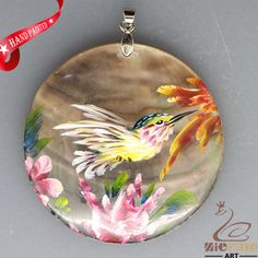 HAND PAINTED HUMMINGBIRD FLORAL NATURAL MOTHER OF PEARL SHELL PENDANT ZL3005689 #ZL #PENDANT