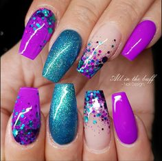 Lilac flower 2018 New. Purple manicure with rhinestones . Lilac flower 2018 New. Purple manicure with rhinestones Purple Manicure, Pink Nails, Glitter Nails, Fancy Nails, Glitter Makeup, Lilac Nails With Glitter, Magenta Nails, Purple Nail Designs, Nail Art Designs