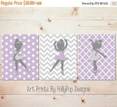 Ballerina wall art Girls room wall art Baby wall art Purple gray nursery art Nursery wall prints Ballet wall prints Playroom decorPur #1695