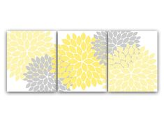 Home Decor Wall Art, Yellow and Gray Flower Burst Art, Bathroom Wall Decor, Yellow Bedroom Decor, Nursery Wall Art - HOME37