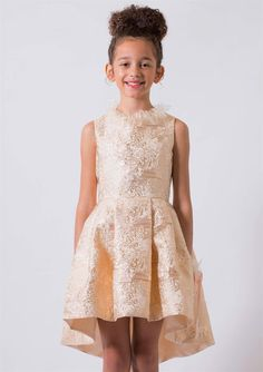Special occasion dress | Flower girl dress |  Metallic jacquard and silk with organza ruffled neckline | Young girl | fashion