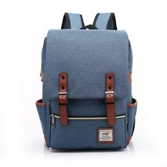 Retro outdoor canvas backpack Blue