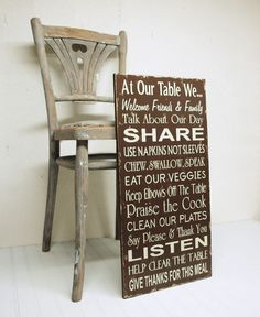 Table Manners Family Rules Kitchen Rules in Chocolate and Cream. At Our Table We.... $80.00, via Etsy.