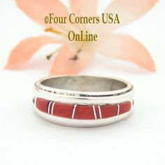 Four Corners USA Online - Size 6 3/4 Red Coral Inlay Ring Native American Wilbert Muskett Jr WB-1634 Sterling Silver Jewelry, $135.00 (http://stores.fourcornersusaonline.com/size-6-3-4-red-coral-inlay-ring-native-american-wilbert-muskett-jr-wb-1634-sterling-silver-jewelry/)