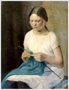 """Charlotte Lawrenson """"Girl Knitting"""""""